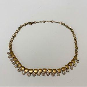 J Crew Brushed Gold Sparkle Rhinestone Necklace